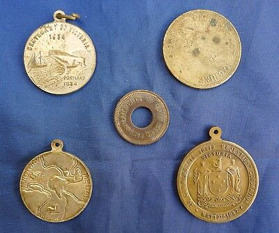 Five Old Australian Medalets And Tokens; Centenary Of Victoria, Coronation & Etc