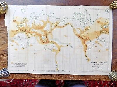 1857 First-ever Seismologic Map World R&J Mallet Earthquakes Geology Antique Map