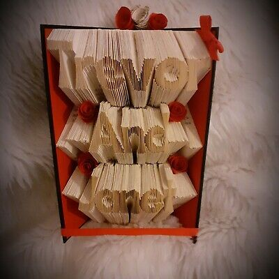 Valentines Folded Book Named, Personalised Book Folding Art Sculpture Present