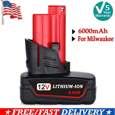 For Milwaukee M12 XC 6.0 Extended Capacity Battery 48-11-2460 Lithium 12V Drill