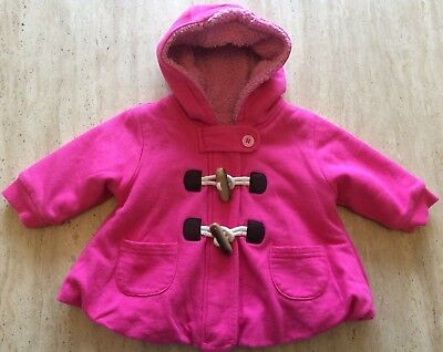 Baby girl's fleece lined hooded duffle style coat, pink, up to 3 months