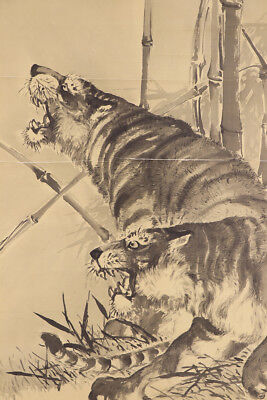 """JAPANESE HANGING SCROLL ART Painting """"Tiger"""" Asian antique  #E5751"""