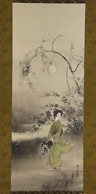 "JAPANESE HANGING SCROLL ART Painting ""Beauty under Moon"" Asian antique  #E5752"