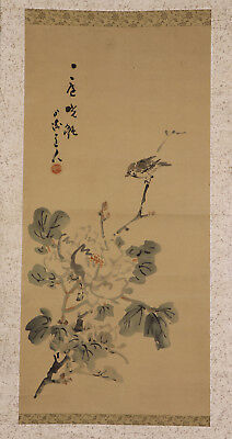 """JAPANESE HANGING SCROLL ART Painting """"Bird and Flower"""" Asian antique  #E5741"""