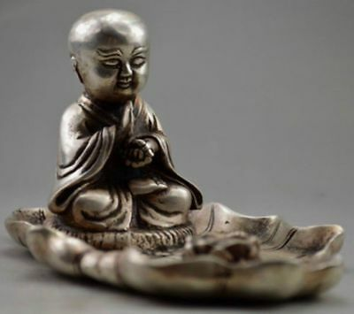 Collectible Decorated Old Handwork Tibet Silver Carved Buddha On Lotus Inkstone