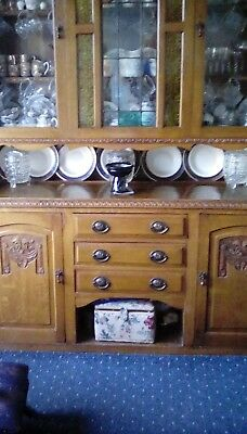 Antique Cherry Oak Welsh Dresser with stained glass picture of owl panel