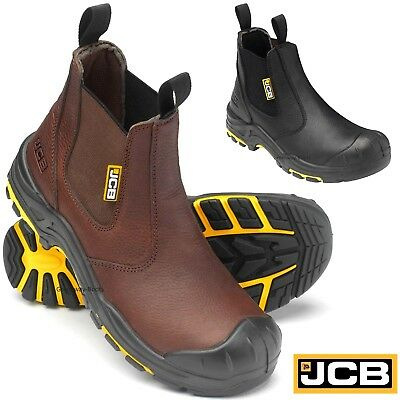 5da6ef43211 MENS JCB LEATHER Waterproof Heavy Duty Safety Work Boots Steel Toe ...