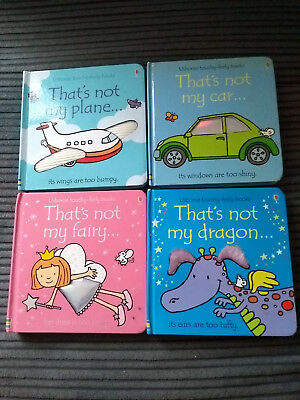 USBOURNE THAT'S NOT MY BOOKS DRAGON CAR FAIRY PLANE x4 USED GOOD/VERY GOOD COND