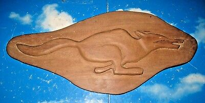 VINTAGE RUSTIC WOODEN HAND CARVED WALL PLAQUE of a RUNNING FOX