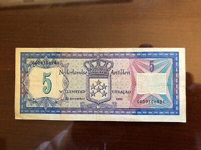 Netherlands Antilles 5 Gulden Banknote, 1980, Circulated