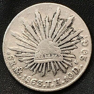Mexico 1863-Moth Silver 8 Reales Better Grade