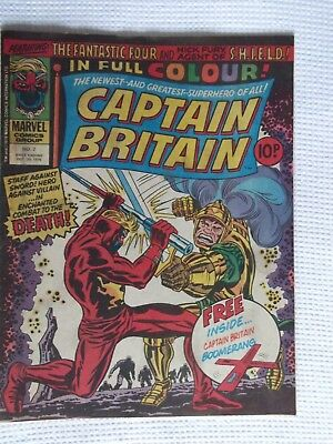 'Captain Britain' Comic No.2, October 20th (1976), with Free Gift.