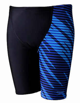 8428765cb96 Speedo Allover V Cut Panel Boys Jammer Black Chroma Blue Swim Shorts