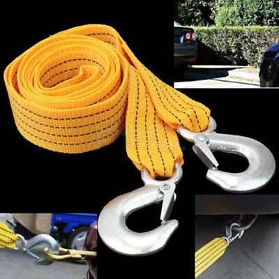 3 Tons Car Tow Cable Towing Strap Rope With 2 Hooks Emergency Heavy Duty Yellow