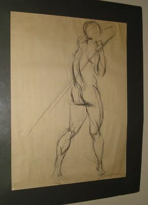 Figurative Sketch Drawing Nude Woman Signed (Jim) James Wood unframed