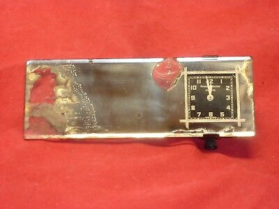 Vintage Chevrolet rear view mirror with Phinney Walker square clock 1920's 1930s