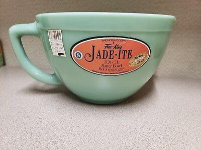 NEW Fire King Jade-ite 2 Qt Batter Bowl, with Original Label