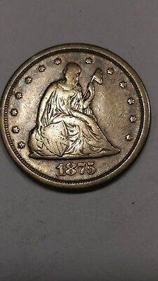 1875-S Twenty Cent Piece Sitting Liberty Silver Coin 1875 S