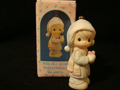 Precious Moments Ornaments-Girl w/Snowball-May All Your Christmases Be White