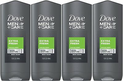 4 PACK Dove Men + Care Body And Face Wash Extra Fresh 13.5 FL OZ Each