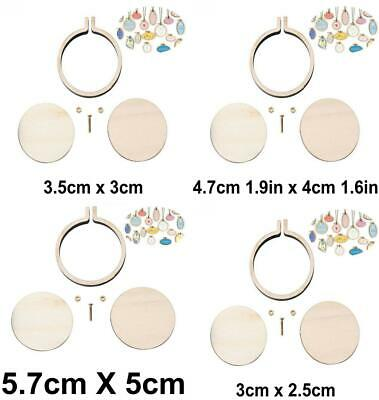 Natural Wooden Mini Embroidery Jewelry Tiny Hoops Pendants Frame Set Rings DIY C