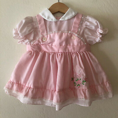 Vintage 60s Baby Girls Pink Butterfly Dress Size 6 - 12 Months