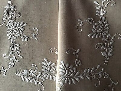 Gorgeous Vintage Linen Hand Embroidered Tablecloth ~ White On Cream