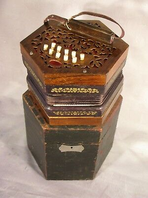 Cased Concertina German Antique Victorian Vintage Polished Mahogany Circa 1895