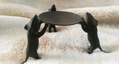 CHINEA FOLK old Chinese Bronze sculpture of three Mouse Candlestick
