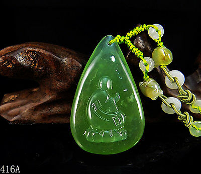 100% Natural Hand-carved Icy Jade Pendant jadeite Necklace thinking monk 416a
