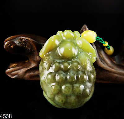 100% Natural 3D Hand-carved Jade Pendant jadeite Necklace gold toad frog 455b