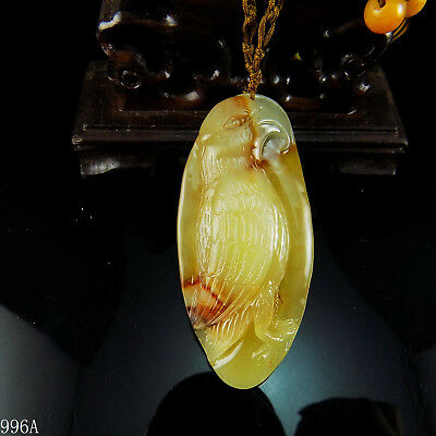 100% Natural Hand-carved Chinese Jade Pendant jadeite Necklace parrot 996a