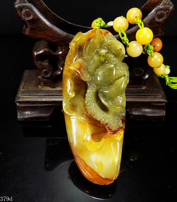 100% Natural Hand-carved Chinese Jade Pendant jadeite Necklace lotus flower 379d