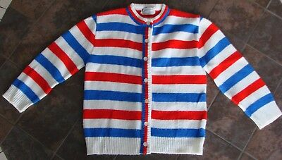 Vintage Glacier Knits California  Red - White - Blue Striped Sweater