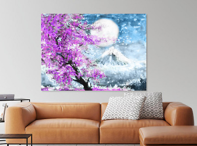 Beautiful Moon tree flowers Oil paint Print Home Decor Wall Art choose your size