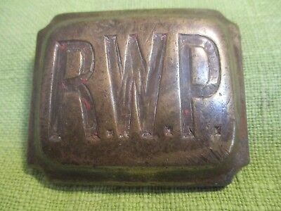 """RARE Antique Horse Brass: Large Oblong Bevelled Brass Stud inscribed """"R.W.P."""""""