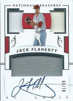 2018 Panini National Treasures Triple Jersey #PCS-JF Auto 81/99 Jack Flaherty