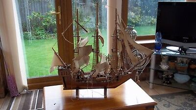 Vintage Wooden Boat / Sailing Ship Huge Old & Needs Restoration Length 27 Inches