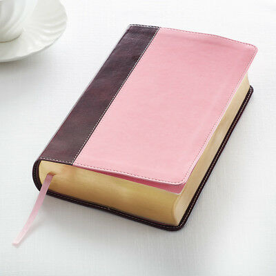 KJV Holy Bible King James Version Giant Print Pink and Brown Red Letter Edition