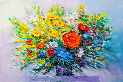 Beautiful Oil Painting Flower vase Print Home Decor Wall Art choose your size