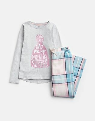 Joules Girls Mini Snooze Long Sleeve Jersey Woven Set in PINK CHECK