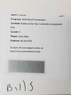 Josh Allen 2018 Contenders Football SP ROTY RPS AUTO