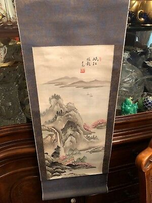 VINTAGE JAPANESE/ ASIAN HANGING SCROLL MARKED Hand Painted