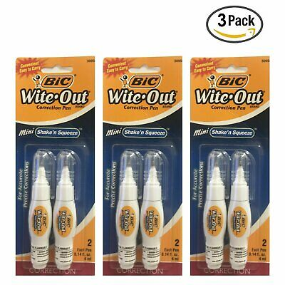 BiC  Wite-Out Correction Pen Mini Shake n Squeeze 2 Pen Each (Pack Of 3)