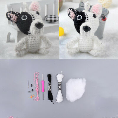White Black Dog Hand Knitting Crochet Kit with Instructions, Easy to Follow