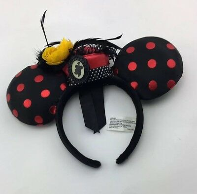 Disney Parks Minnie Mouse Ear Headband Flower Pot Hat Polka Dot Ears Feather