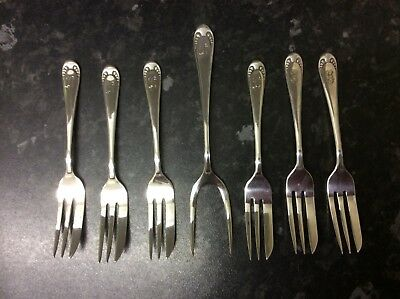 Vintage Set of 6 Silver Plated Pastry Cake Dessert Forks +Prong Server Set
