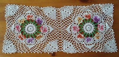 Pretty Vintage Hand Crocheted White Doily Birds Multi Color Pansies