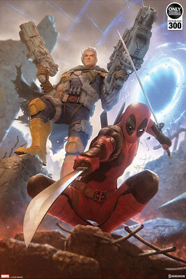 Deadpool and Cable Art Print by Sideshow Collectibles Unframed Signed #241/300