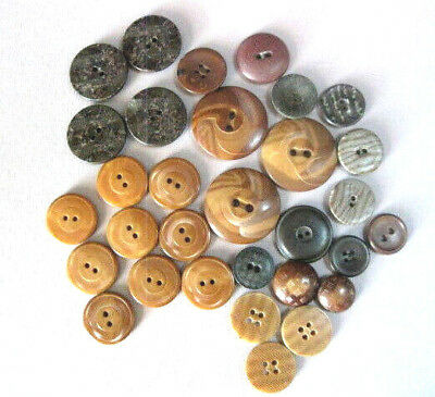 """Lot Of Vintage Vegetable Ivory Stenciled & Pattern Buttons 10/16""""- 1 1/8"""""""
